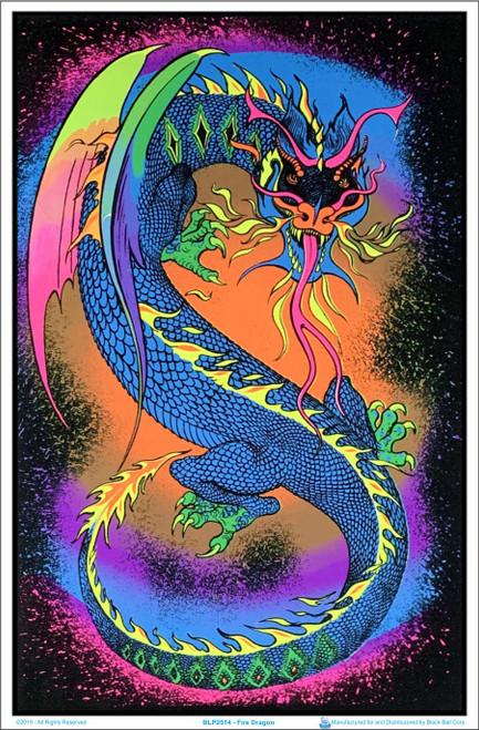 Image of Fire Breathing Dragon - Blacklight Flocked Poster