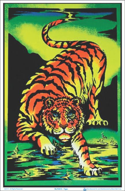 Crouching Tiger Flocked Blacklight Poster Image