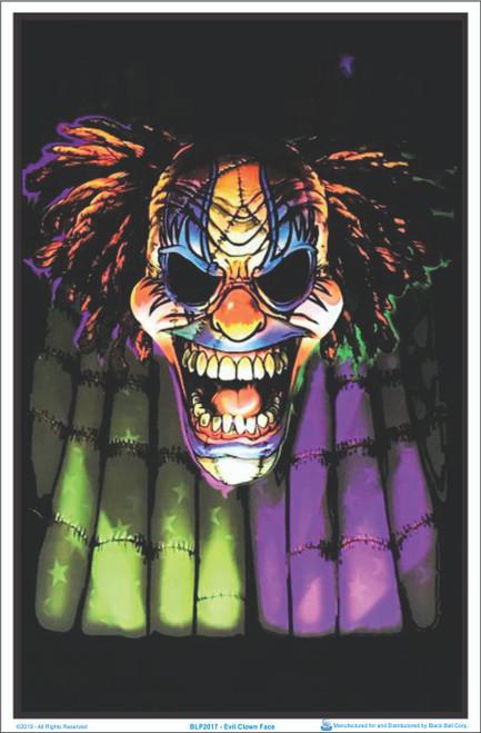Evil Clown Face Blacklight Poster - Flocked Image