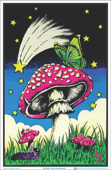 Mushroom Butterfly Flocked Blacklight Poster Image