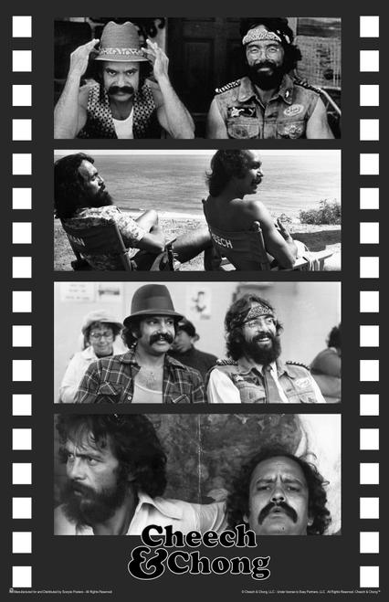 """Cheech & Chong Black & White Film Strip Collage & Logo Mini Poster- 11"""" x 17"""""""