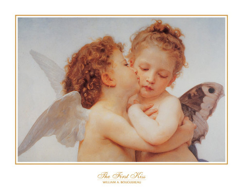 """The First Kiss by Bouguereau 1890 Poster - 28"""" x 22"""""""