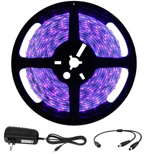 UV LED Blacklight Strip Light 5m (16.4 ft) - 300 LED - 385nm-400nm
