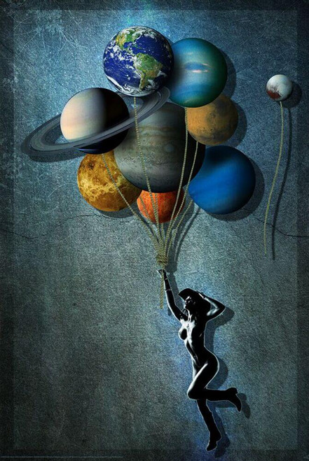 """Cosmic Cowgirl by Daveed Benito Poster - 24"""" x 36"""""""