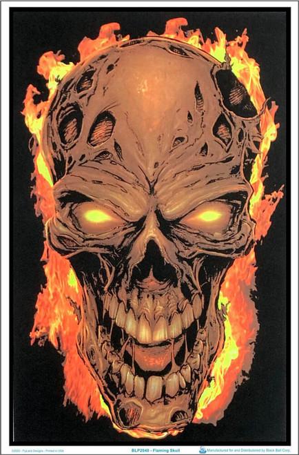 """Flaming Skull Blacklight Poster - Flocked - 23"""" x 35"""""""