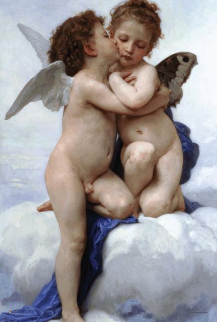 """L'Amour et Psyche, Enfants (Cupid & Psyche as Infants) by Bouguereau Mini Poster 12"""" x 18"""""""