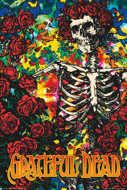 "Grateful Dead Skeleton & Roses Poster 24"" x 36"""