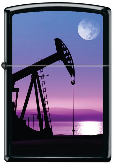 Oil Rig Sunset Moon Black Matte Zippo Lighter