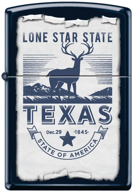 Lone Star State Deer Navy Matte Zippo Lighter