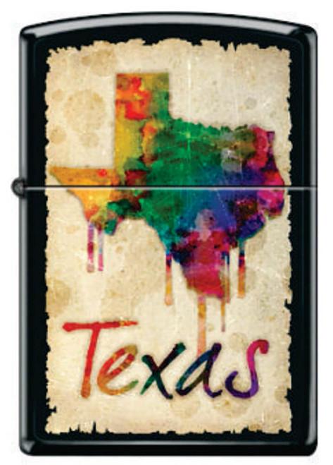Texas Dripping Colors Black Matte Zippo Lighter