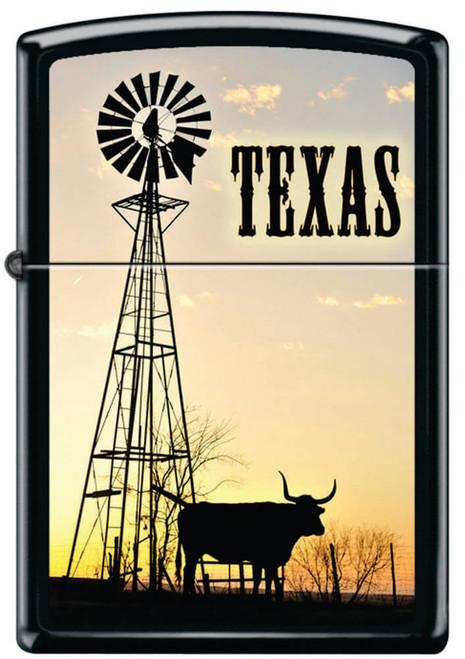 Texas Longhorn with Windmill Black Matte Zippo Lighter