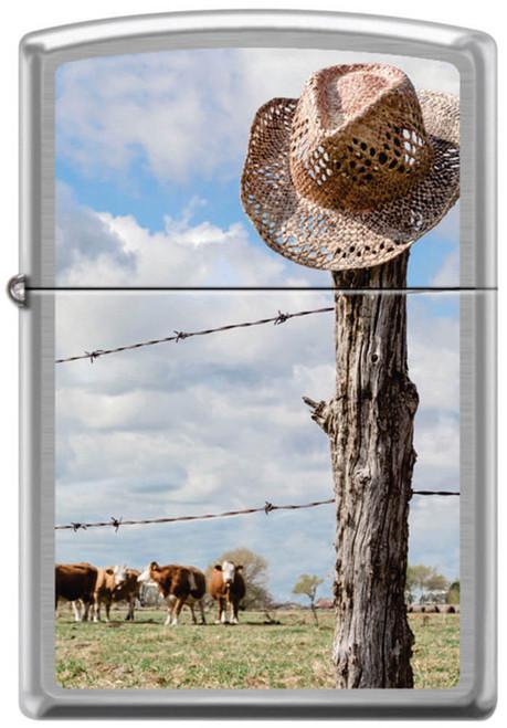 Cowboy Hat On Fence Post Street Chrome Zippo Lighter
