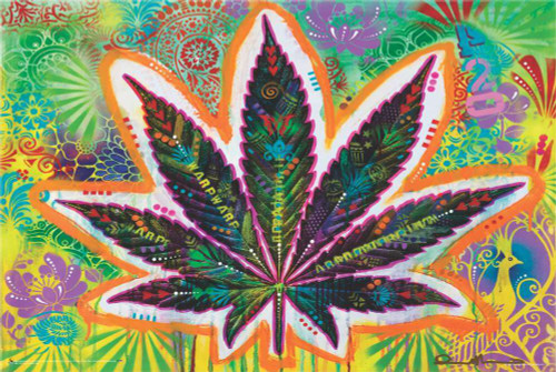 """Psychedelic Leaf by Dean Russo Poster 36"""" x 24"""""""