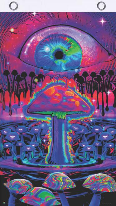 Mushrooms Blacklight Reactive Fly Flag 3' x 5'