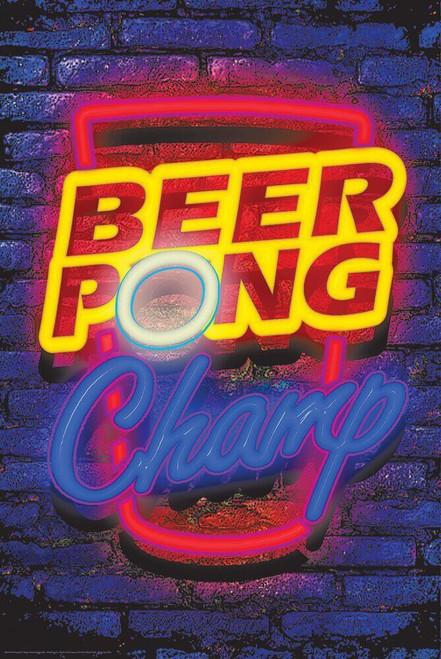 "Beer Pong Neon Non-Flocked Blacklight Poster 24"" x 36"""