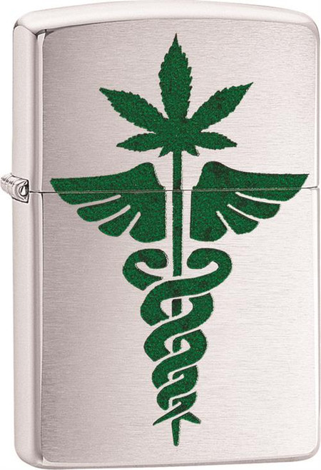 Medical Marijuana- Brushed Chrome Zippo Lighter