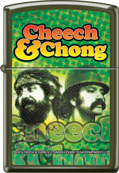 Cheech & Chong - Reflection - Green Matte Zippo Lighter