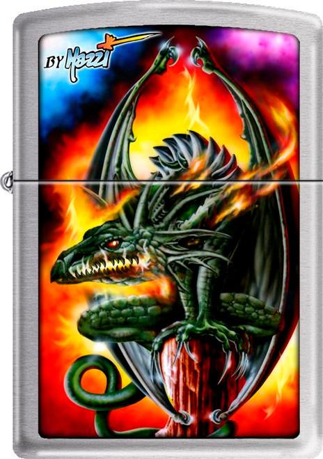 Mazzi - Dragon Brushed Chrome Zippo Lighter