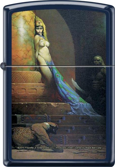 Frazetta - Egyptian Queen - Blue Matte Zippo Lighter