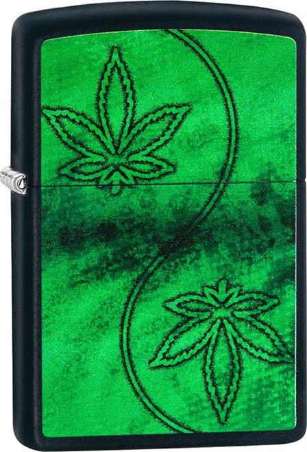 Marijuana Swirl - Black Matte Zippo Lighter