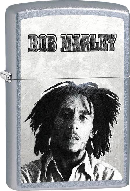 Bob Marley - B&W Face Street Chrome Zippo Lighter