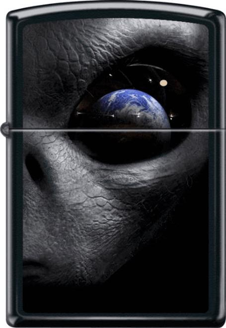 Alien World Black Matte Zippo Lighter
