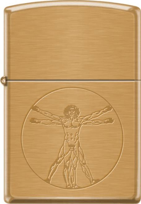Vitruvian Man Brushed Brass Zippo - Retail Lighter