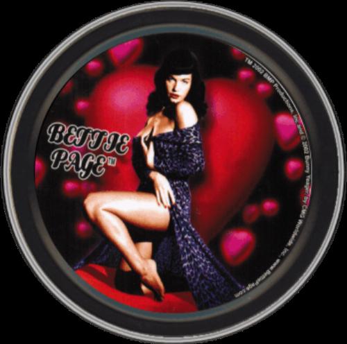 """Stash Tins - Heart Bettie Page 3.5"""" Round Storage Container"""