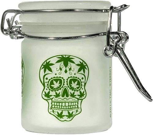 Airtight Glass Mini Stash Jar 1.5 Oz - Frosted Sugar Skull Design