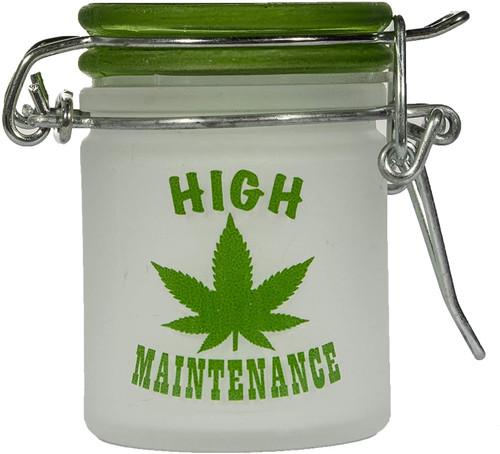 Airtight Glass Mini Stash Jar 1.5 Oz - Frosted Hi Maintenance Design