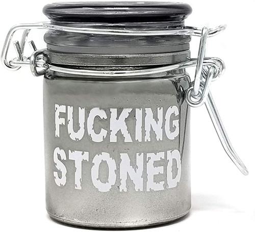 Airtight Glass Mini Stash Jar 1.5 Oz - F*cking Stoned Design