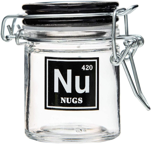 Airtight Glass Mini Stash Jar 1.5 Oz - Nu 'Nugs' Design