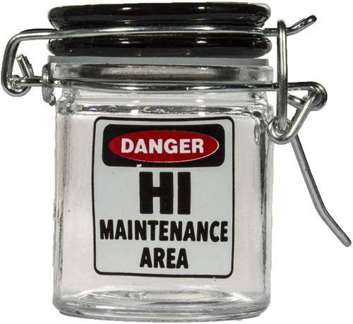 Airtight Glass Mini Stash Jar 1.5 Oz - Danger - Hi Maintenance Area Design