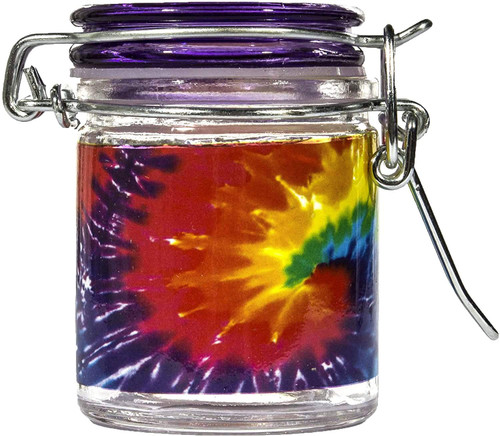 Airtight Glass Mini Stash Jar 1.5 Oz - Tye Dye Design