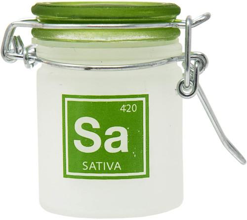 Airtight Glass Mini Stash Jar 1.5 Oz - Sa 'Sativa' Design