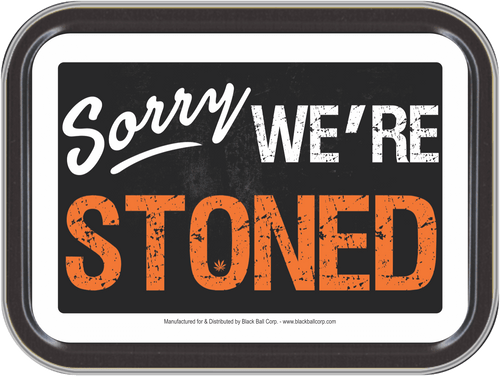 """Stash Tins - Sorry We're Stoned Storage Container 4.37"""" L x 3.5"""" W x 1"""" H"""