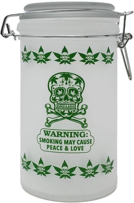 "Sugar Skull Frosted White XL Stash Jar - 6"" Tall 16oz Capacity"