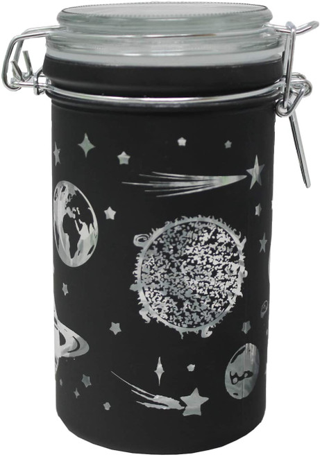 "Metallic Galaxy Black Frost XL Stash Jar - 6"" Tall 16oz Capacity"