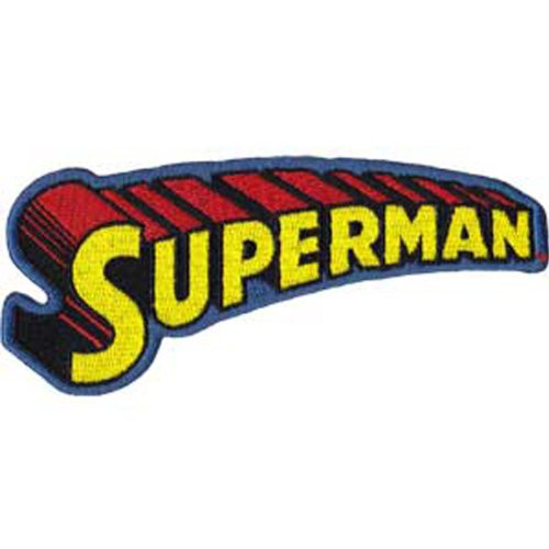 """Superman Text Logo - Iron On Embroidered Patch 4.5"""" x 1.75"""" Image"""