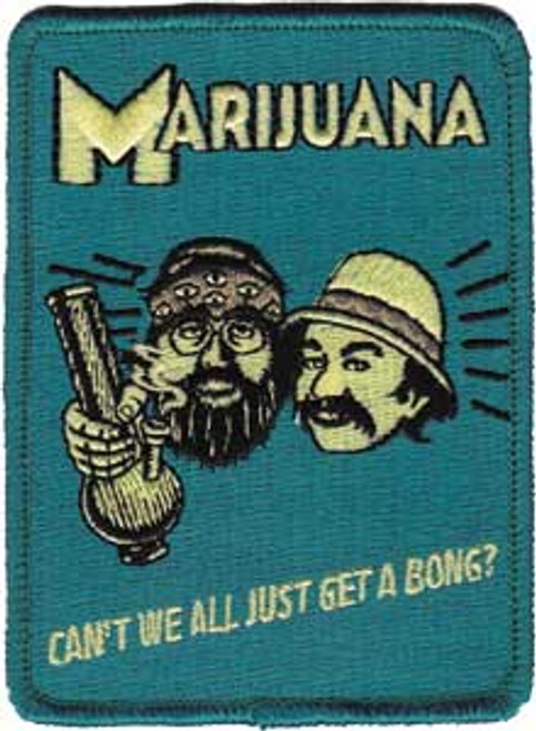 """Cheech & Chong """"Can't We All Just Get a Bong"""" - Iron On Embroidered Patch 2.5"""" x 3.5"""" Image"""