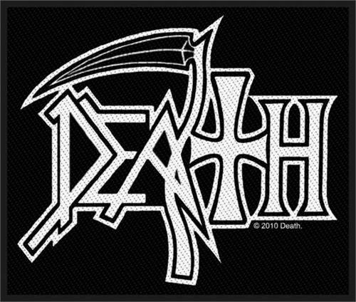 """Death Logo - Woven Sew On Patch 4"""" x 3"""" Image"""