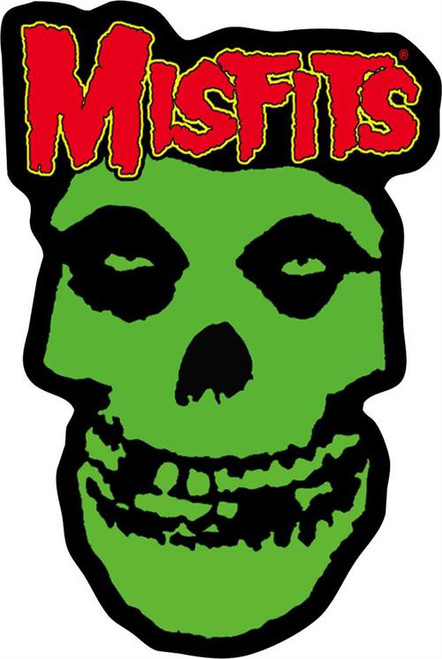 """Misfits Green Skull - Embroidered Sew On Patch 2"""" X 3 1/4"""""""