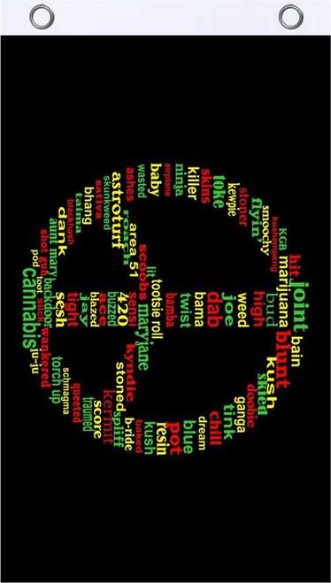 Rasta Peace Words Fly Flag 3' x 5' Image