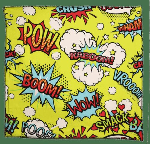 "Bandana - Cartoon Pow! - 21"" x 21"" - Cotton"