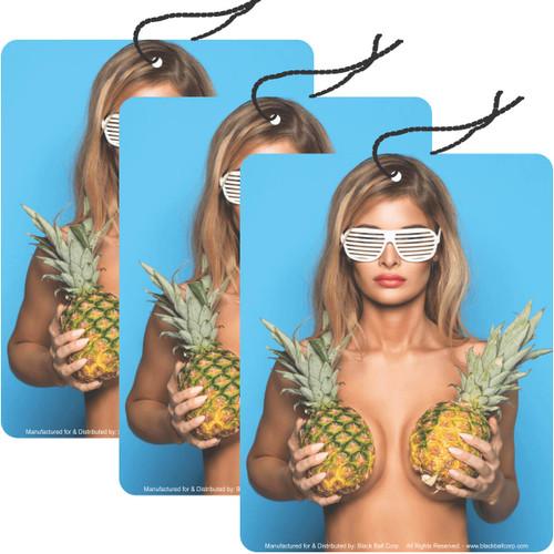 Road Rage Air Freshener - Vanilla Scent - Pineapple Girl - 3 Pack