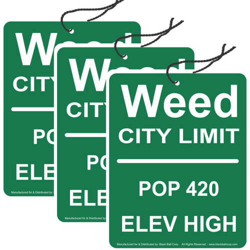 Road Rage Air Freshener - Vanilla Scent - Weed City Limits - 3 Pack