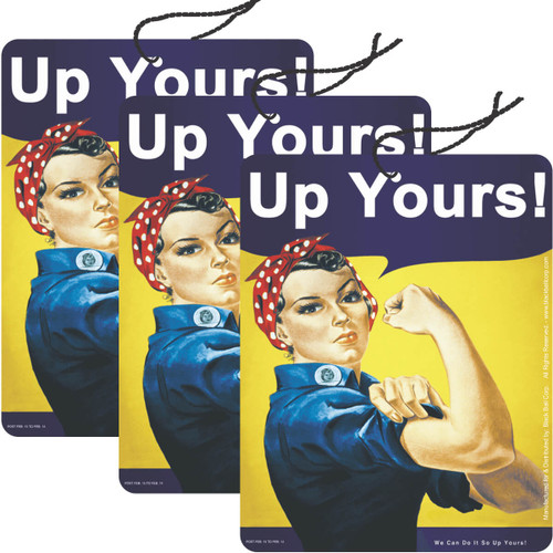 Road Rage Air Freshener - Vanilla Scent - Rosie the Riveter Up Yours - 3 Pack
