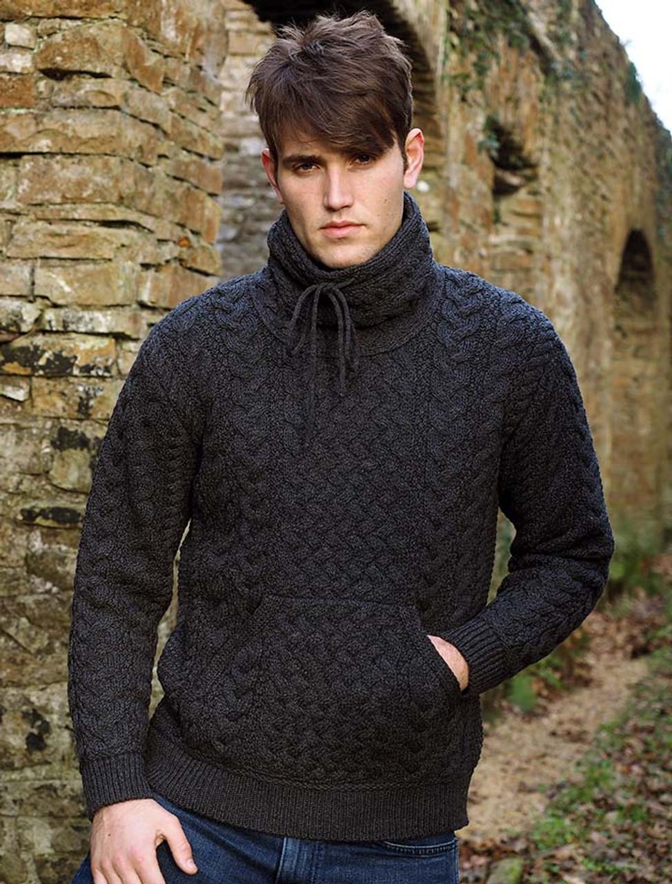 b3c0f26942 Men s Cowl Neck Aran Sweater - Charcoal
