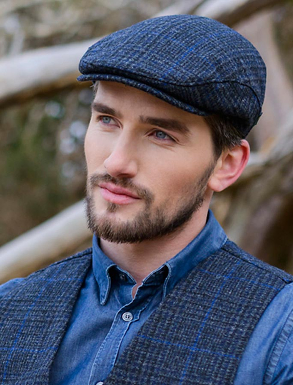 Trinity Tweed Flat Cap - Charcoal with Blue  296f30bf2e5