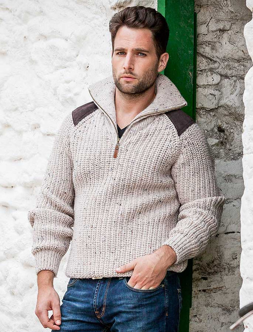 b586b61a7ba0 Fisherman s Half Zip Sweater with Patches - Skiddaw